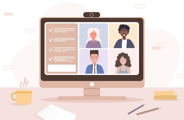Video call conference. working from home. social distancing. business discussion.  illustration in  style.