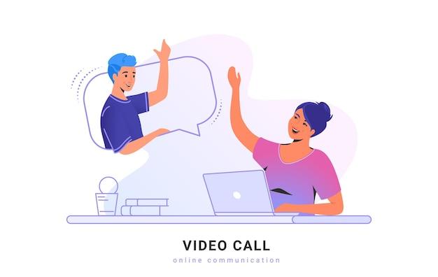 화상 통화 대화 또는 채팅. 업무용 책상에 앉아 노트북을 사용하여 화상 통화 앱을 통해 친구와 이야기하는 젊은 여성의 개념 벡터 삽화. 온라인 통신 기술 흰색 배너