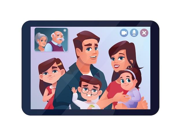 タブレットまたは電話のベクトル漫画イラストでビデオ通話家族チャット