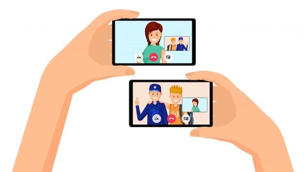 Video call, friends conversation