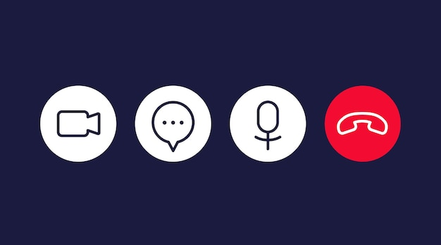 Video call icons for interface, line vector