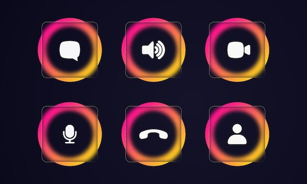 Video call icons. speaker, video chat, camera related icons. glassmorphism style. online video chat app, call technology. glass morphism effect with set of transparent glass plates.