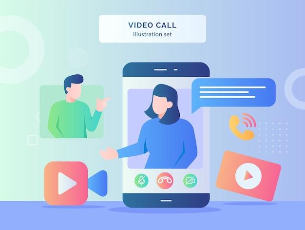 ビデオ通話イラストセット女性は男性カメラビデオ着信コールフラットスタイルデザインのディスプレイのスマートフォン画面の背景で話します
