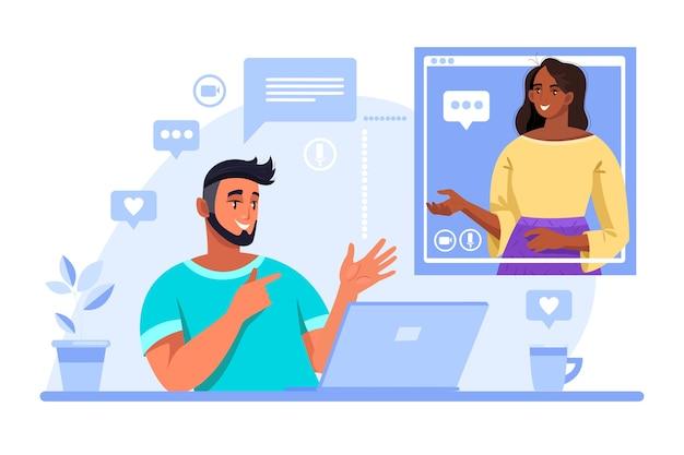 Иллюстрация видеозвонка с молодым человеком студентом и женщиной-учителем, общающимися онлайн.