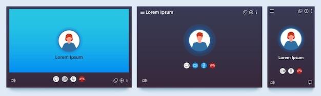 화상 통화 인터페이스. 웹 채팅 ui 화면 모형. 통화 및 온라인 회의 회의 신청. 통신 창 벡터 집합입니다. 일러스트레이션 비디오 인터페이스 화면, 통신 회의