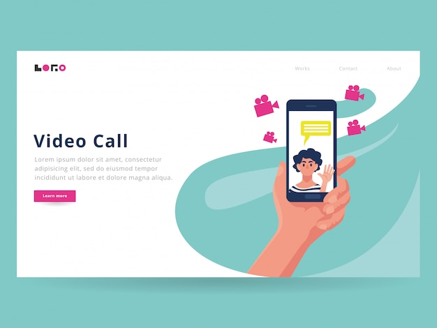 Video call landing page template