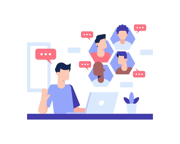 Video call on a laptop illustration concept