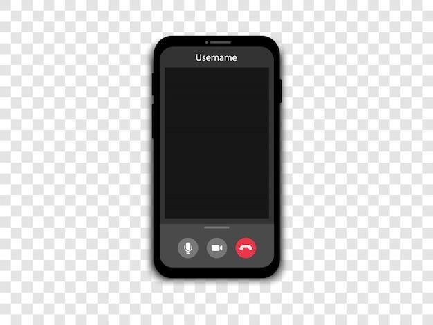 スマートフォンでビデオ通話。ビデオ通話とオンライン会議を備えた電話スクリーン。
