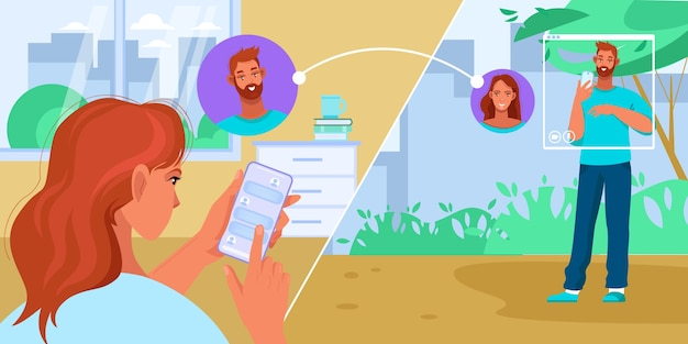 Video call or online communication illustration with young couple chatting in internet
