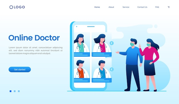 スマートフォンのイラストとビデオ通話オンライン医師