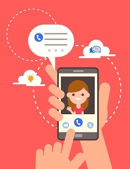 スマートフォンのイラストをオンラインでビデオ通話、画面上の笑顔の女の子とスマートフォンを持っている手。オンラインチャットアプリの電話コンセプトでバブルスピーチメッセージをチャット、