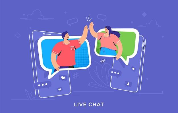 화상 통화 또는 모바일 채팅 대화. 말풍선으로 스마트폰에 하이파이브를 하는 두 친구의 개념 벡터 삽화. 사람들을 위한 온라인 회의 및 원격 커뮤니케이션 프리미엄 벡터