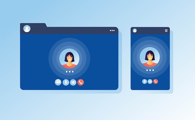 Video call screen apps concept ui ux for communication call laptop internet
