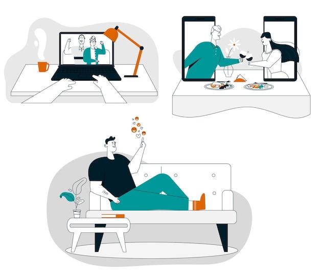 Видеозвонок бабушкам и дедушкам. романтическая пара ужинает онлайн на свидании. мужчина болтает в смартфоне, сидит дома. технологии онлайн-общения, отношения на расстоянии, встреча на карантине