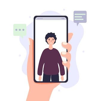 Video call via smartphone hand holds mobile phone with incoming video conference call digital