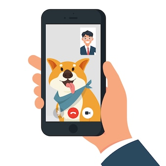 Video call with dog / pet