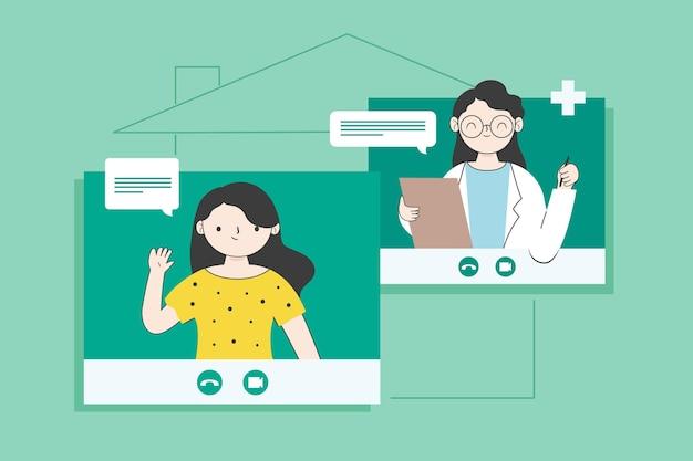 화상 통화 및 온라인 치료사와 대화