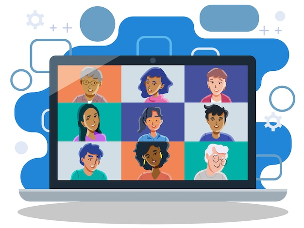 Video calling friends. group video call. conference call. vector and ilustration.