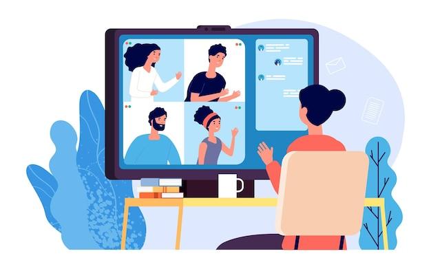 ビデオ通話。オンライン会議、インターネット通話、またはビジネスチャット。グループの人々は、遠隔ディスカッション、web会議、またはデジタルウェビナーのイラストを持っています。リモート教育ベクトルの概念