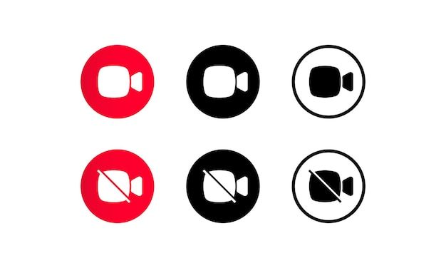 Video camera call icon set for video conference