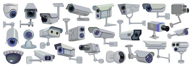 Мультфильм камеры видео установить значок. иллюстрация контроля наблюдения на белом фоне. мультфильм установить значок видео камеры.