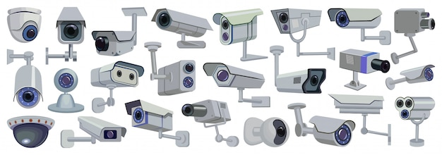 Video camera  cartoon set icon.  illustration control of surveillance on white background .  cartoon set icon video camera.