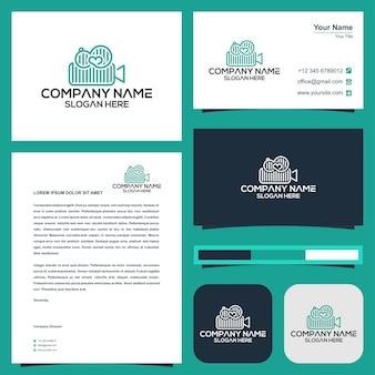 Video camera cinema logo and business card