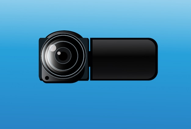 Video camera icon on blue background