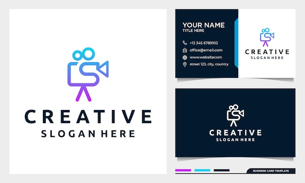 Video camera logo for movie cinema production with business card design template