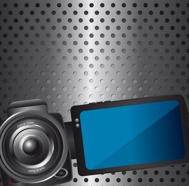 Video camera over silver background with circles