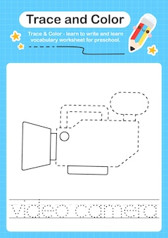 Video camera trace and color preschool worksheet trace for kids for practicing fine motor skills
