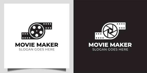 Video camera with movie reel, cinema, for film production or movie maker logo template
