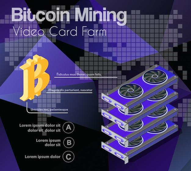 마이닝 비트 코인의 비디오 카드 세트