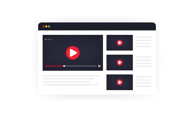 비디오 채널 그림입니다. 동영상 블로그, 웨비나, 강의, 비디오 자습서, 강의 또는 교육을 온라인으로 시청합니다. 격리 된 흰색 배경에 벡터입니다. eps 10.