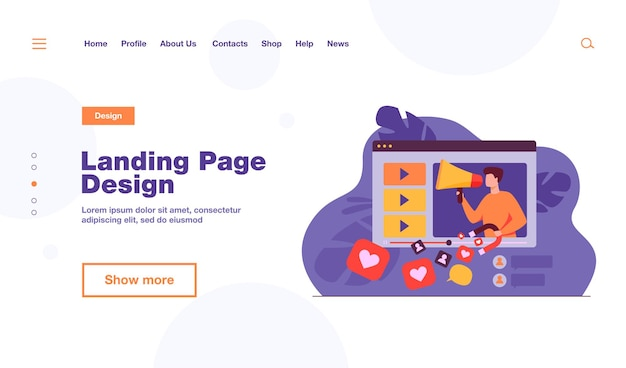 Video channel of popular blogger sharing information and getting likes landing page template