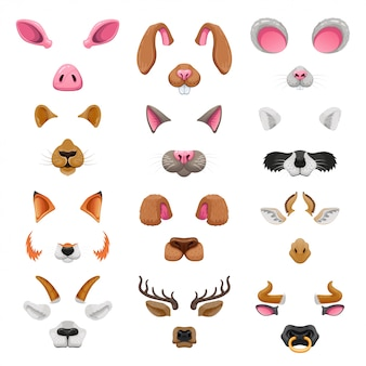 Video chat animal faces effects set
