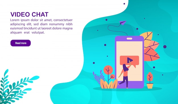 Video chat illustration concept with character. landing page template
