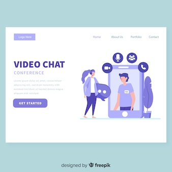 Video chat landing page template