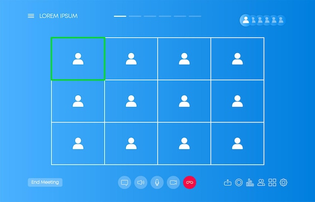 Video chat many users interface, video calls window overlay. ui ux design. vector illustration.