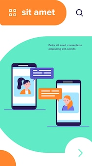 Video chat on phone. girls using smartphones for conference call flat vector illustration