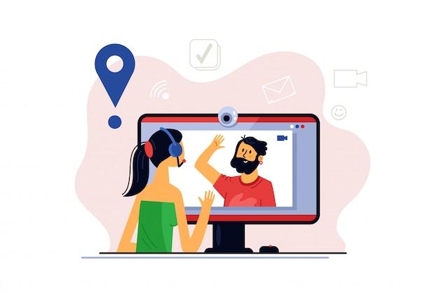 ビデオチャット。リモート作業用のオンラインビデオチャットを使用した仮想会議。ビジネスチームとの会議のためのコンピューターからのビデオ通話。遠隔教育のためのデジタルテクノロジーの指導と議論。