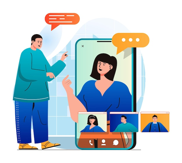 Video chatting concept in modern flat design man makes video call to friends or colleagues