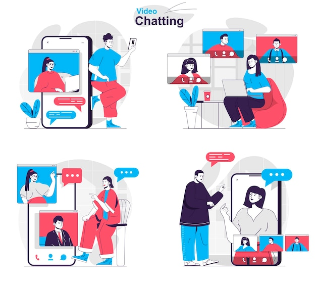 Video chatting concept set friends or families make video calls and chat online