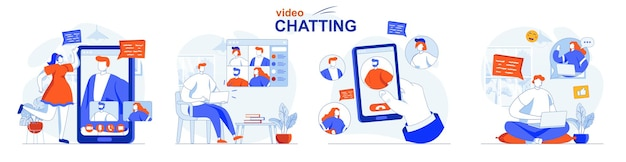 Video chatting concept set online communication friends talk in video calls