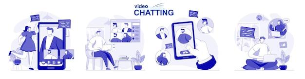 평면 디자인으로 격리된 화상 채팅 사람들은 화상 통화 앱을 사용하여 온라인으로 친구와 채팅합니다.