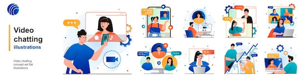 Video chatting isolated set online communication using video calling app of scenes in flat design