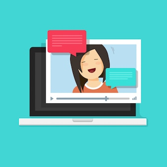 Video chatting online or internet call on laptop computer illustration in flat cartoon style