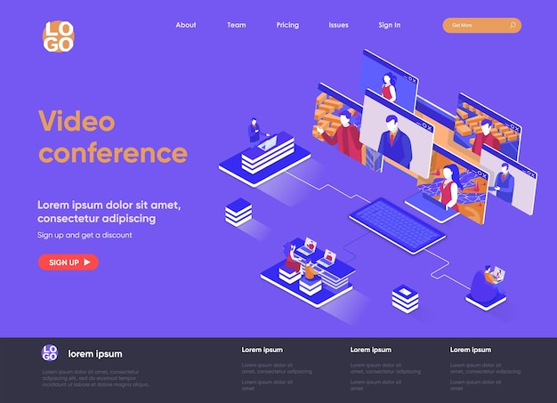 Video conference 3d isometric landing page website   illustration with people characters