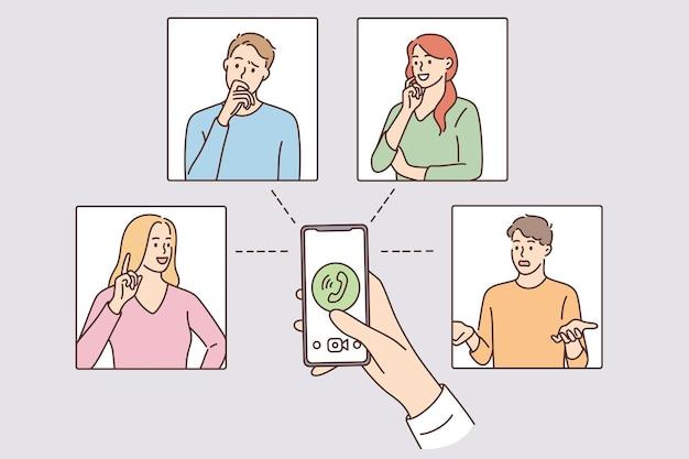 화상 회의 및 원격 작업 개념입니다. 온라인 화상 채팅 회의 회의 작업을 하는 사람들의 그룹은 홈 벡터 일러스트레이션을 형성합니다.