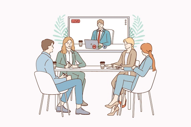 ビデオ会議とチームワークの概念図
